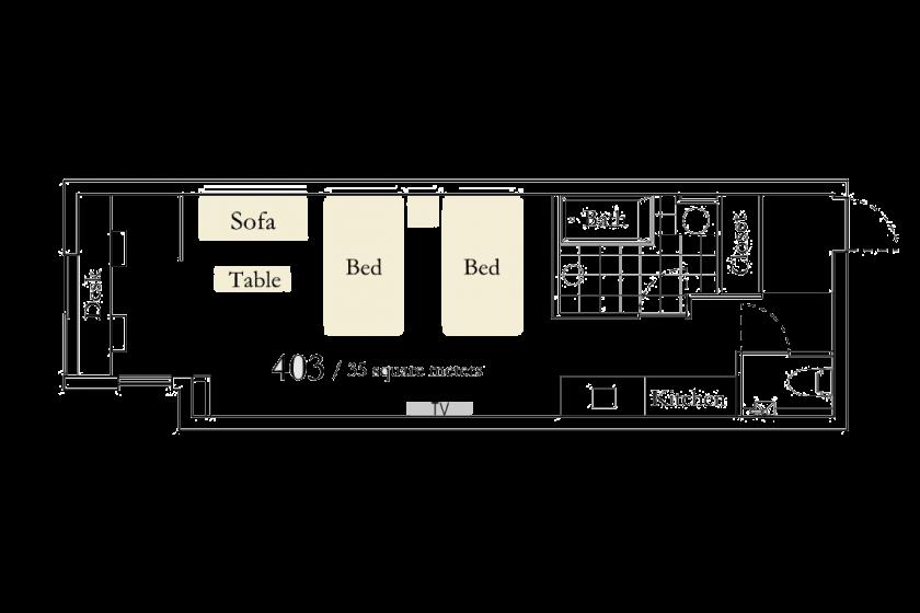 【高瀬川ビュー402号室】ツインルーム ・ スタンダードプラン