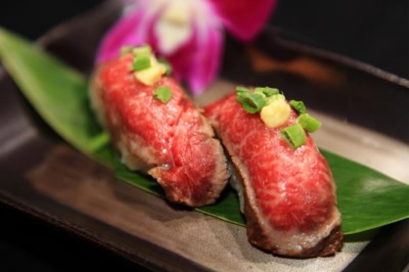 【当館おすすめ!別注料理付】ちょっと贅沢☆夕食に絶品仙台牛の炙り握り寿司と1泊2食バイキング付