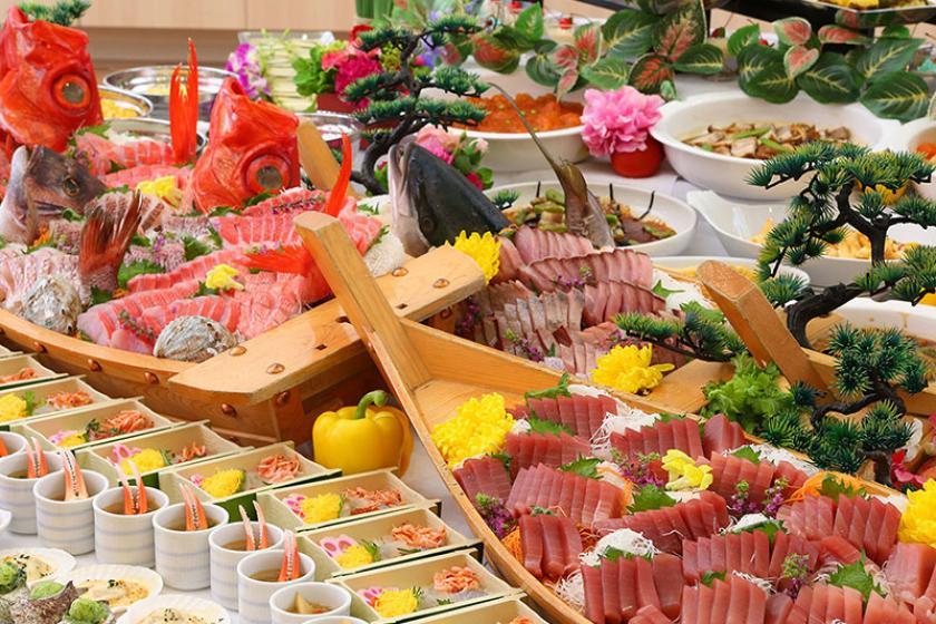 ちょっぴり贅沢体験【 別注料理『鰺のたたき&サザエのつぼ焼き』付 】プラン♪1泊2食バイキング付