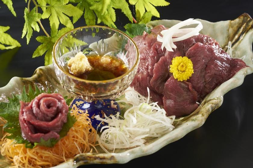 【別注料理】夕食バイキングにもう一品、肉本来の味を楽しむ馬刺し付きプラン<3/19~5/31 心ゆくまで味わえる『かに食べ放題』>