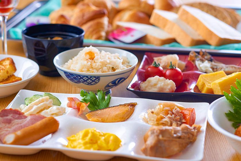 【朝食のみ】朝食バイキングで人気の釜めしを、スタンダードプランから1,000円お得な朝食付きプラン