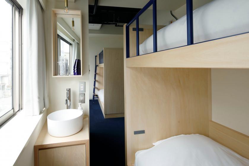 個室 禁煙 |バンクベッド4 ロードサイド(眺望なし):共用バスルーム |最大4名(15㎡)