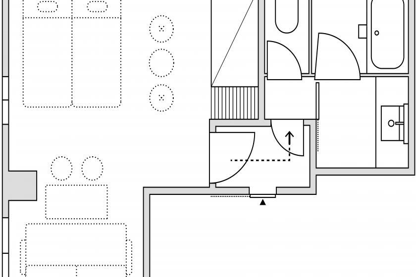 スーペリア4(ジャパニーズスタイル)室外隣接バス・トイレ(SP4JO)/敷布団3枚・ソファーベッド1台/32㎡/禁煙