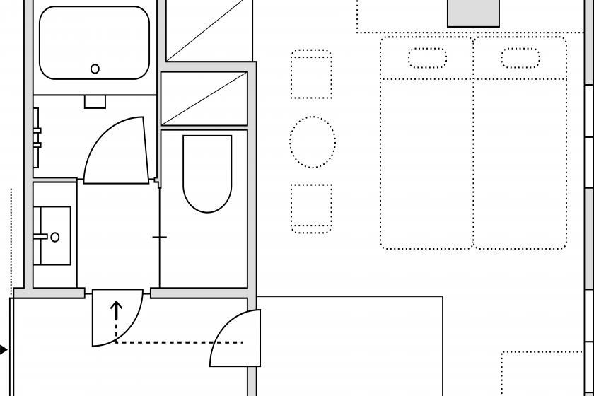 スタンダード3(ジャパニーズスタイル)室外隣接バス・トイレ(ST3J)/敷布団3組/24㎡/禁煙