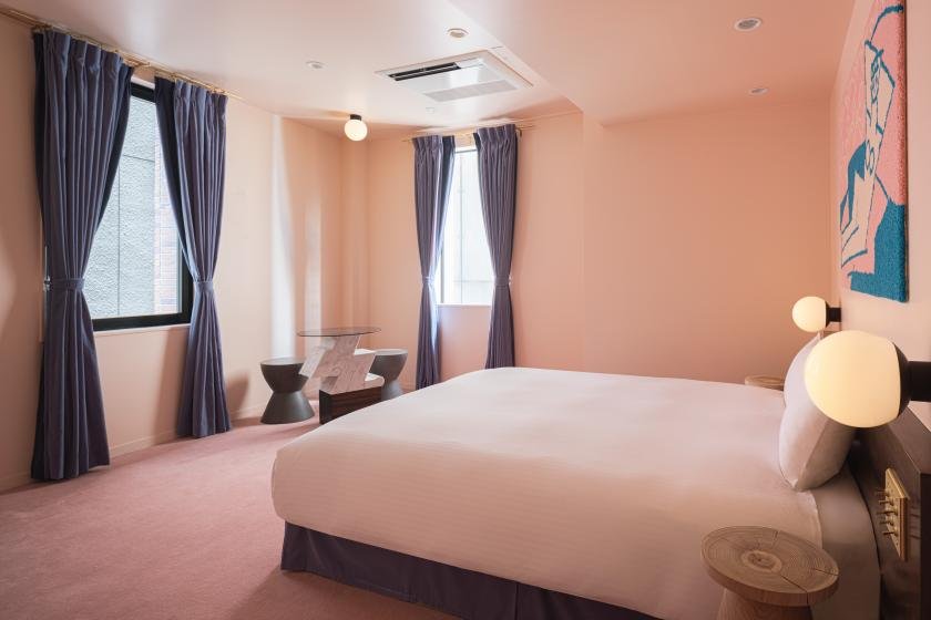 Cherry-colored carpet room