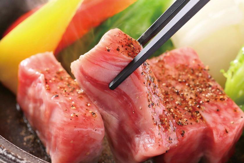 【別注】霧降高原牛の陶板焼き付きプラン 1泊2食付 柔らかお肉をジューシーな陶板焼きで。お肉の甘み、旨味をご賞味ください。