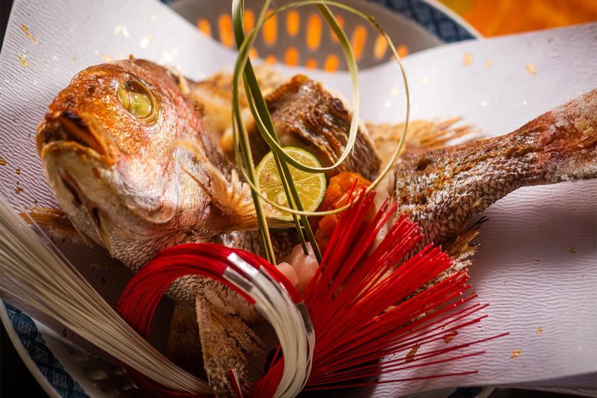 【お祝いプラン-基本会席-】<尾頭付き焼き鯛>大切な方の誕生日や結婚記念日などのお祝いに。