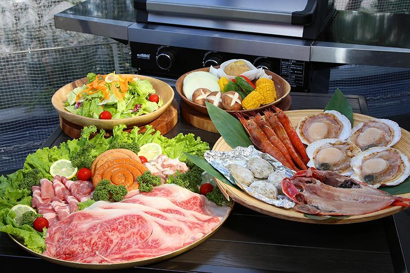 【夕食&朝食付き】屋根付きテラスでの夕食BBQコースプラン!【宿泊】