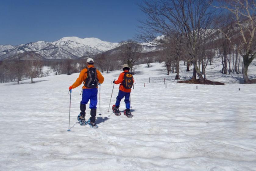 전문 가이드와 잔설 笹ヶ峰을 걷는 스노우 숙박 시설 (2 식)