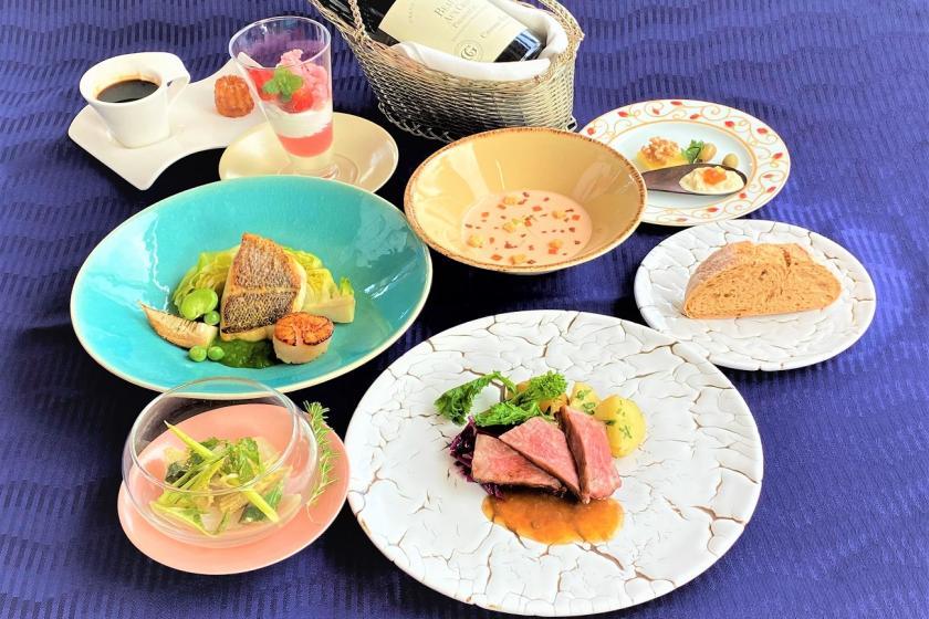 【Aniversary】フレンチフルコース+乾杯スパークリングワイン&デザートメッセージ特典付(夕朝食)