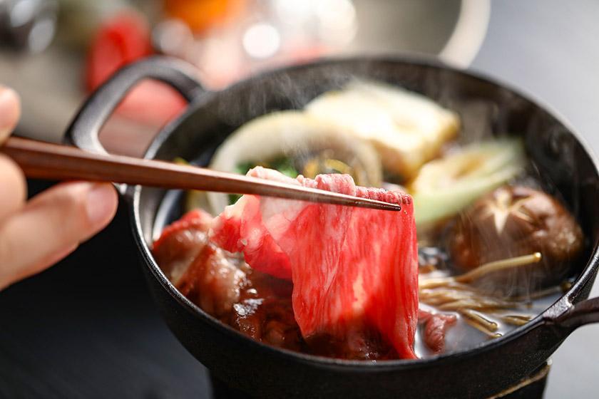 【別注】村上牛すき焼き付プラン サシが多く、甘みのある、とろけるような味わいの村上牛をご堪能ください。<3/19~6/30 かに食べ放題>