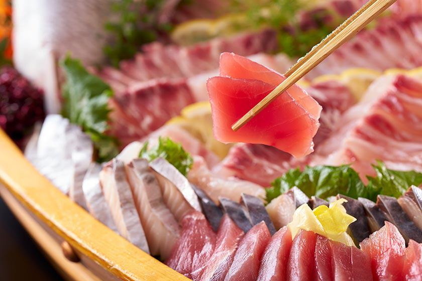 夕食バイキングで魚釣りをして食べよう!プラン<3/8~5/31 脂ののった上質な味『豪華お造り5種盛』>