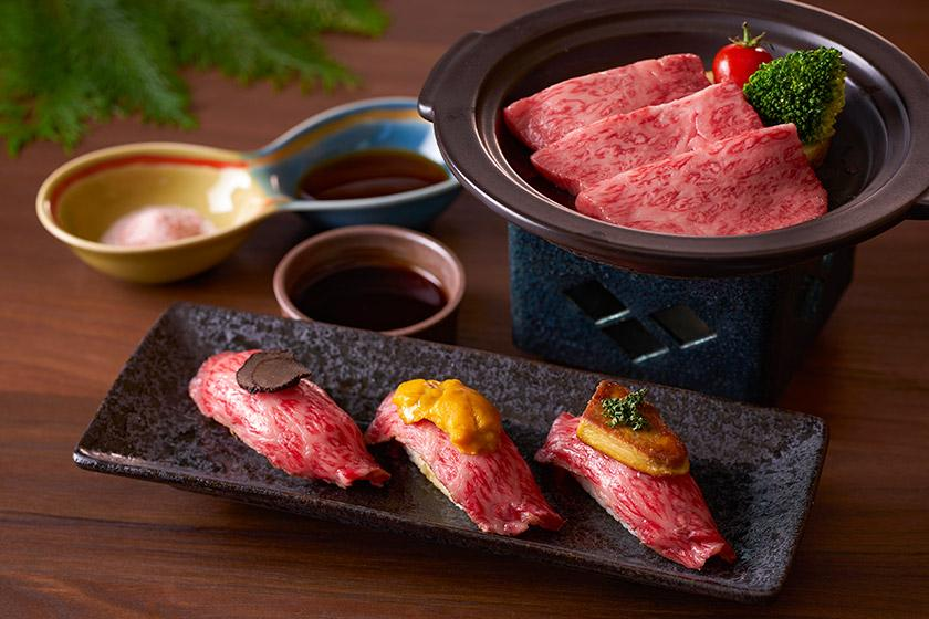 A5ランク豊後牛「おおいた和牛」 陶板焼きと高級珍味の牛寿司付きプラン