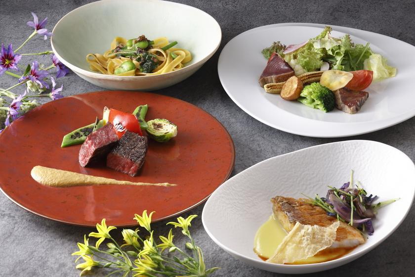 【夕朝食付き】 パスタ、魚&肉のWメインなど全7品のコース「Terra」 ワインペアリング付