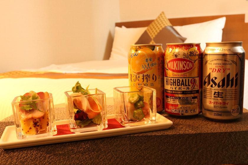 3種の選べるお酒!おつまみプラン(朝食付き)