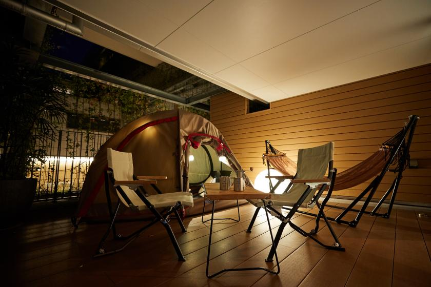 【HOTEL GLAMPING PREMIUM】ハンモックでゆらゆら優雅なひと時を。<館内利用券3000円付・お食事なし>