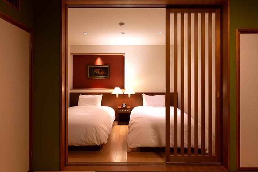 【星】加賀五彩の和室7.5畳+シモンズのツインベッド≪42㎡≫
