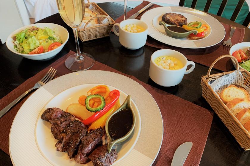 <房間用餐計劃> 可以選擇主肉的牛排晚餐〇早晚各2餐