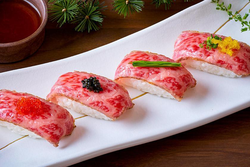 【別注料理】ちょっぴり贅沢に♪ふわっと柔らかく、とろけるような旨みと甘み「とちぎ和牛の炙り寿司」付きプラン