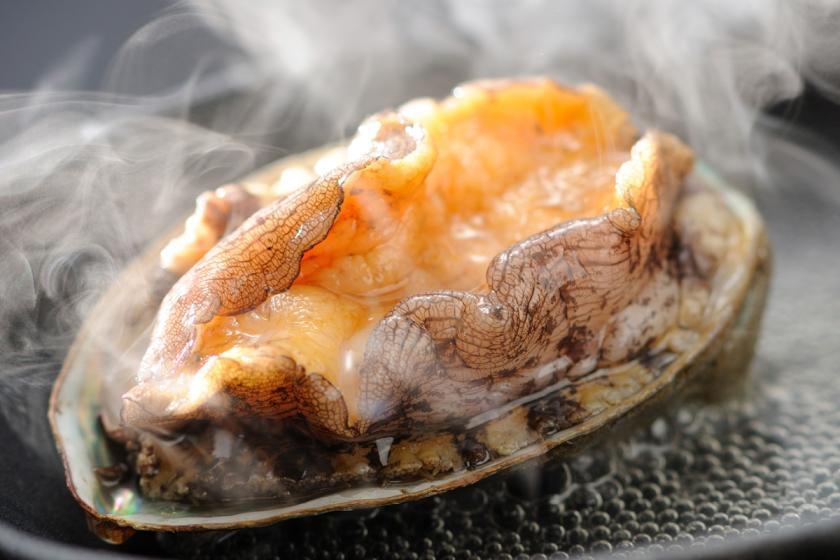 <宿公式>【 鮑の踊り焼プラン 】新鮮アワビが丸ごと1個!踊り焼でご賞味あれ!